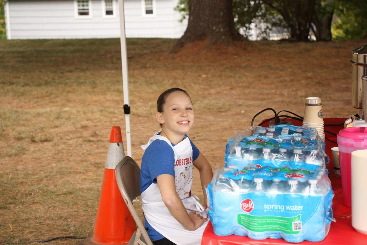Handing out water